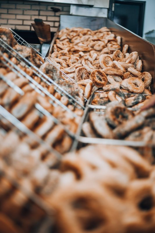Bagels on display and Quebec small business, St-Viateur Bagel